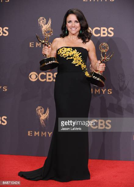 Actress Julia LouisDreyfus poses in the press room at the 69th annual Primetime Emmy Awards at Microsoft Theater on September 17 2017 in Los Angeles...