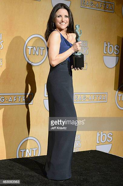Actress Julia LouisDreyfus poses in the press room during the 20th Annual Screen Actors Guild Awards at The Shrine Auditorium on January 18 2014 in...