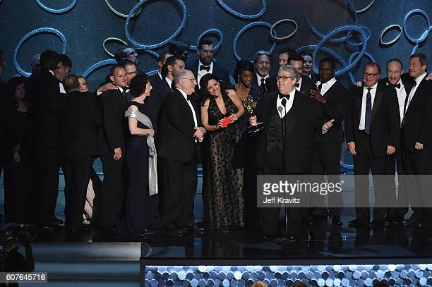 Actress Julia LouisDreyfus producer David Mandel and production team accept the award for Outstanding Comedy Series for 'Veep' onstage during the...