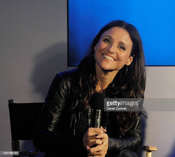 Actress Julia LouisDreyfus visits the Apple Store West 14th Street to discuss her short film 'Picture Paris' on April 20 2012 in New York City