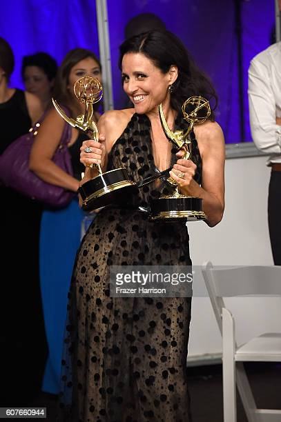 Actress Julia LouisDreyfus winner of Best Actress in a Comedy Series and Best Comedy Series for 'Veep' poses in the press room during the 68th Annual...