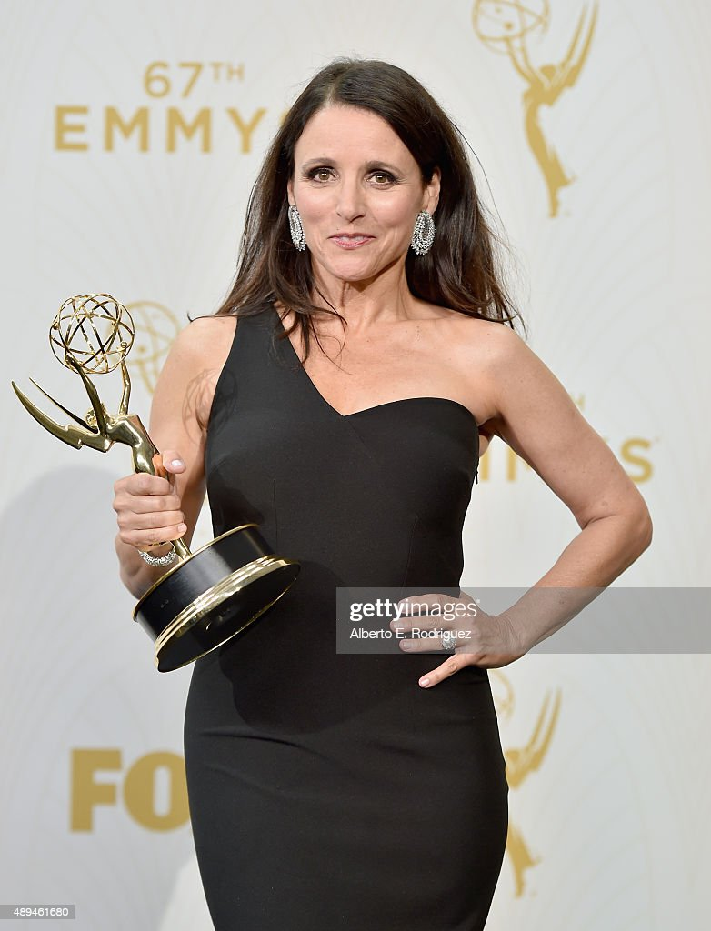 Actress Julia Louis-Dreyfus, winner of Outstanding Lead Actress in a Comedy Series for 'Veep', poses in the press room at the 67th Annual Primetime Emmy Awards at Microsoft Theater on September 20, 2015 in Los Angeles, California.