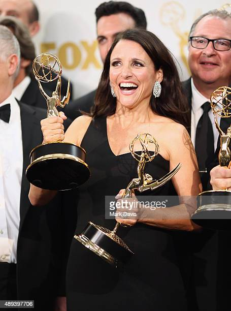Actress Julia LouisDreyfus winner of the awards for Outstanding Lead Actress in a Comedy Series for 'Veep' and Outstanding Comedy Series for 'Veep'...