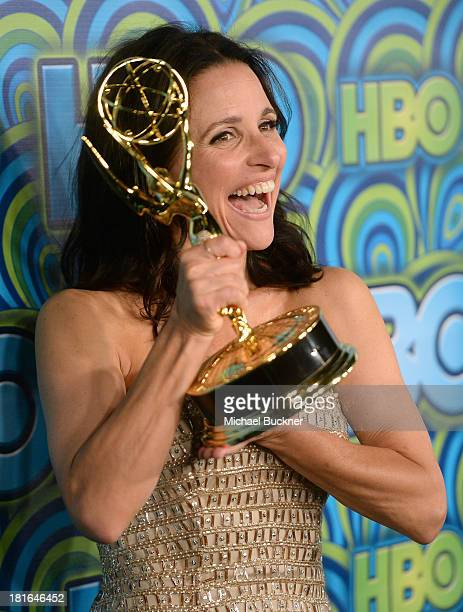 Actress Julia LouisDreyfus winner of the Best Lead Actress In A Comedy Seriers Award for 'Veep' attends HBO's Annual Primetime Emmy Awards Post Award...
