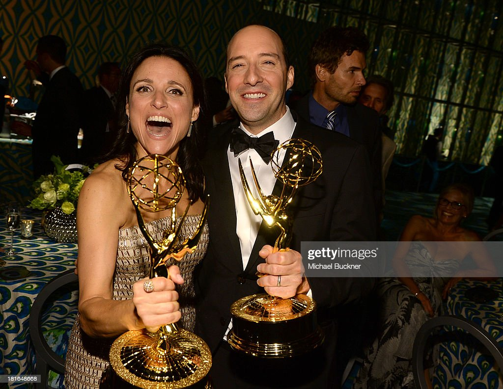 Actress Julia Louis-Dreyfus, winner of the Best Lead Actress In A Comedy Seriers Award for 'Veep' and actor Tony Hale, winner of the Best Supporting Actor in a Comedy Series Award for 'Veep' attends HBO's Annual Primetime Emmy Awards Post Award Reception at The Plaza at the Pacific Design Center on September 22, 2013 in Los Angeles, California.
