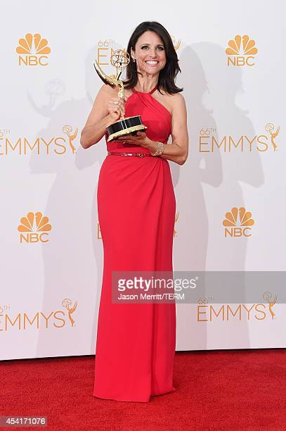 Actress Julia LouisDreyfus winner of the Outstanding Lead Actress in a Comedy Series Award for Veep poses in the press room during the 66th Annual...