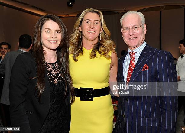 Actress Julia Ormond honoree Nancy Dubuc and TV personality Tim Gunn attend the March of Dimes Celebration of Babies Luncheon at Beverly Hills Hotel...
