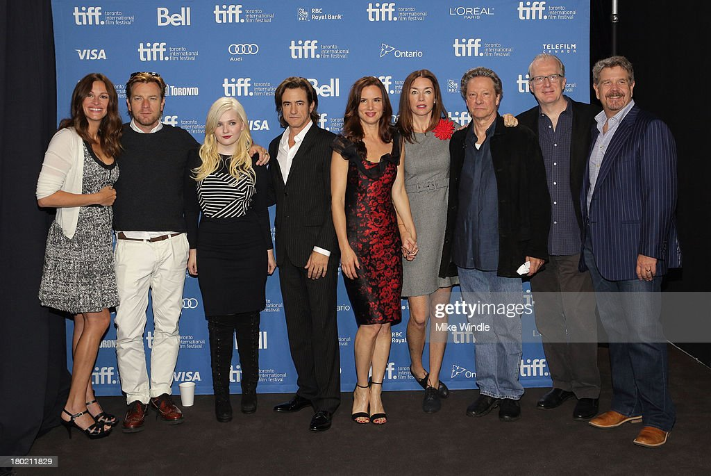 Actress Julia Roberts, actor Ewan McGregor, actress Abigail Breslin, actor Dermot Mulroney, actress Juliette Lewis, actress Julianne Nicholson, actor Chris Cooper, screenwriter Tracy Letts and director John Wells attend 'August: Osage County' Press Conference during the 2013 Toronto International Film Festival at TIFF Bell Lightbox on September 10, 2013 in Toronto, Canada.