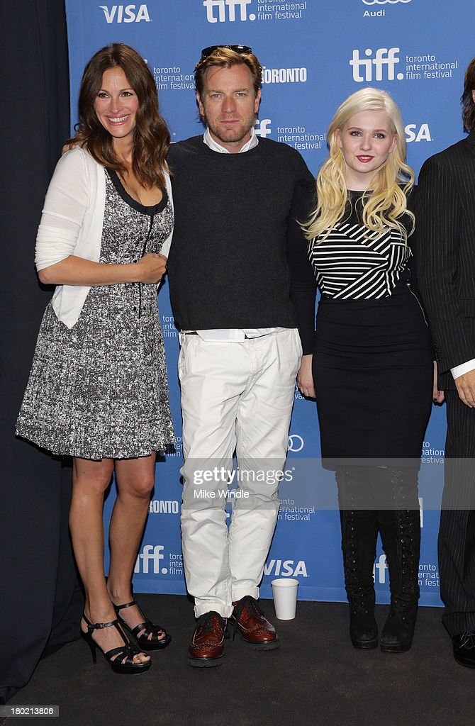 Actress Julia Roberts, actor Ewan McGregor and actress Abigail Breslin attend 'August: Osage County' Press Conference during the 2013 Toronto International Film Festival at TIFF Bell Lightbox on September 10, 2013 in Toronto, Canada.