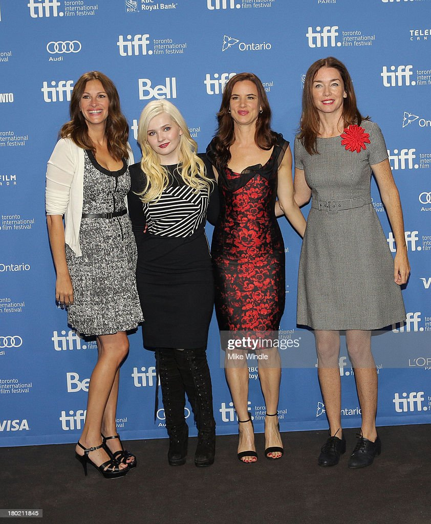 Actress Julia Roberts, actress Abigail Breslin, actress Juliette Lewis and actress Julianne Nicholson attend 'August: Osage County' Press Conference during the 2013 Toronto International Film Festival at TIFF Bell Lightbox on September 10, 2013 in Toronto, Canada.