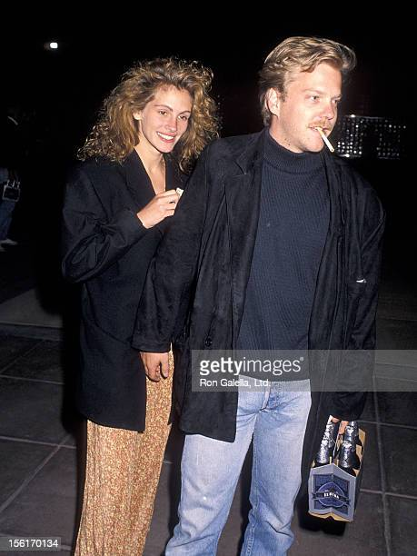 Actress Julia Roberts and actor Kiefer Sutherland attend Sandy Gallin's 50th Birthday Party on May 27 1990 at Eureka Brewery Restaurant in Los...