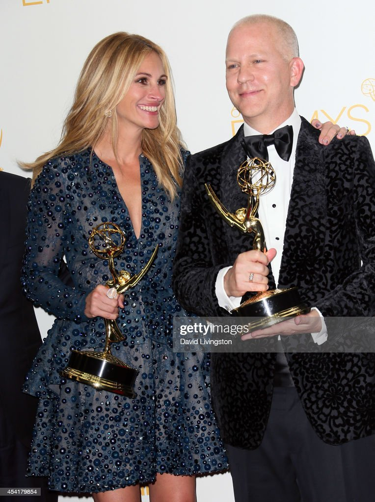 Actress <a gi-track='captionPersonalityLinkClicked' href=/galleries/search?phrase=Julia+Roberts&family=editorial&specificpeople=202605 ng-click='$event.stopPropagation()'>Julia Roberts</a> (L) and executive producer Ryan Murphy pose in the press room at the 66th Annual Primetime Emmy Awards at the Nokia Theatre L.A. Live on August 25, 2014 in Los Angeles, California.