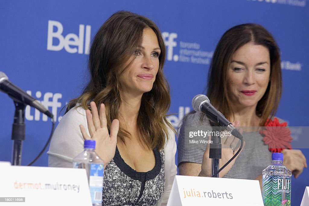 Actress <a gi-track='captionPersonalityLinkClicked' href=/galleries/search?phrase=Julia+Roberts&family=editorial&specificpeople=202605 ng-click='$event.stopPropagation()'>Julia Roberts</a> and <a gi-track='captionPersonalityLinkClicked' href=/galleries/search?phrase=Julianne+Nicholson&family=editorial&specificpeople=757237 ng-click='$event.stopPropagation()'>Julianne Nicholson</a> speak onstage at 'August: Osage County' Press Conference during the 2013 Toronto International Film Festival at TIFF Bell Lightbox on September 10, 2013 in Toronto, Canada.
