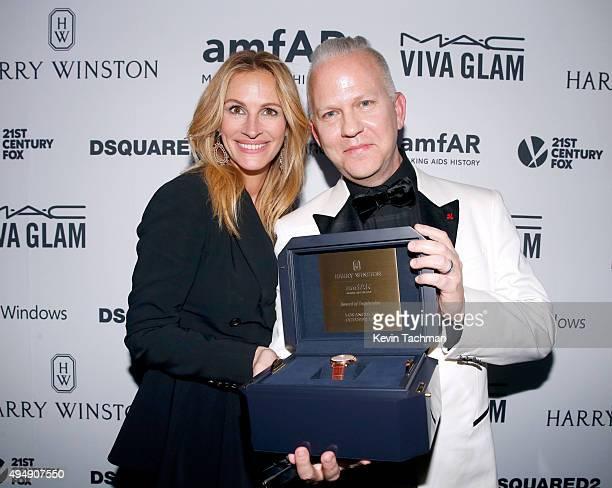 Actress Julia Roberts and producer Ryan Murphy receives 'Award of Inspiration' at the amfAR Inspiration Gala at Milk Studios on October 29 2015 in...