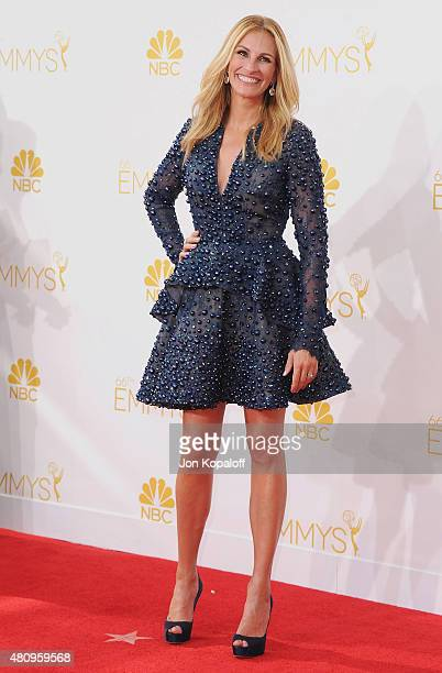 Actress Julia Roberts arrives at the 66th Annual Primetime Emmy Awards at Nokia Theatre LA Live on August 25 2014 in Los Angeles California