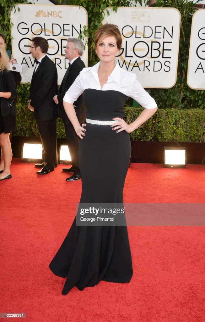 Actress Julia Roberts arrives at the 71st Annual Golden Globe Awards at The Beverly Hilton Hotel on January 12 2014 in Beverly Hills California