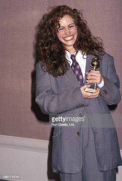 Actress Julia Roberts attends the 47th Annual Golden Globe Awards on January 20 1990 at Beverly Hilton Hotel in Beverly Hills California