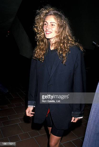 Actress Julia Roberts attends the 'Miss Firecracker' Century City Premiere on April 26 1989 at AMC Century 14 Theatres in Century City California