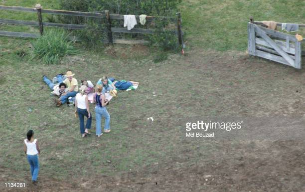 Actress Julia Roberts enjoys an afternoon with friends and family at her ranch on July 6 2002 in Taos New Mexico Roberts married cameraman Danny...