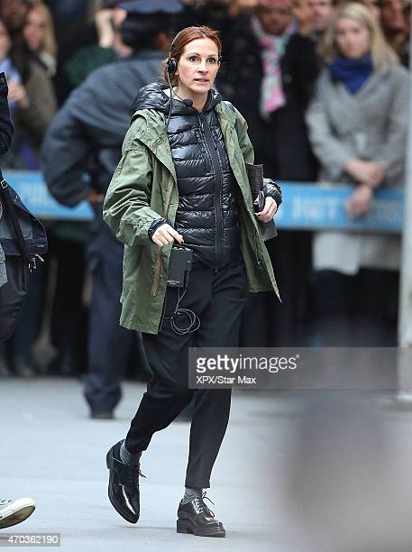 Actress Julia Roberts is seen on the set of 'Money Monster' on April 18 2015 in New York City