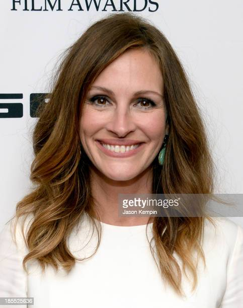Actress Julia Roberts poses in the press room during the 17th annual Hollywood Film Awards at The Beverly Hilton Hotel on October 21 2013 in Beverly...