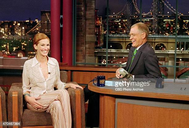 Actress Julia Roberts returns to visit Dave on The Late Show with David Letterman July 10 2001 on the CBS Television Network This photo is provided...