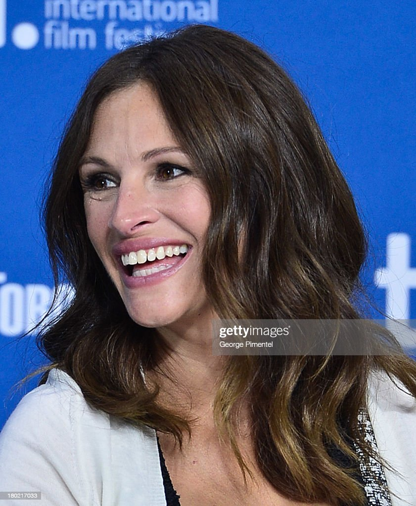 Actress <a gi-track='captionPersonalityLinkClicked' href=/galleries/search?phrase=Julia+Roberts&family=editorial&specificpeople=202605 ng-click='$event.stopPropagation()'>Julia Roberts</a> speaks at the 'August: Osage County' Press Conference during the 2013 Toronto International Film Festival at TIFF Bell Lightbox on September 10, 2013 in Toronto, Canada.