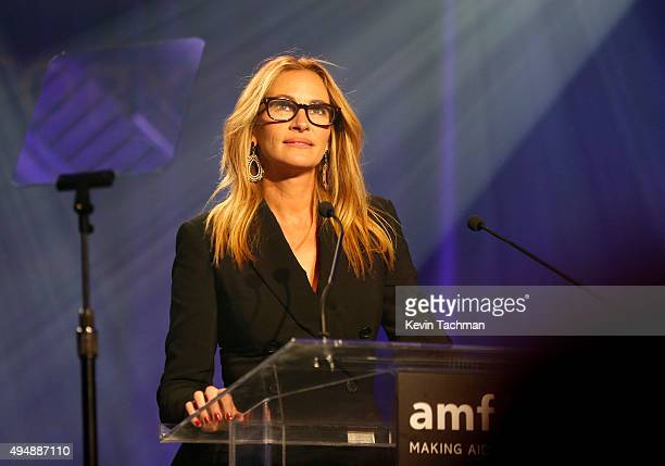 Actress Julia Roberts speaks on stage at the amfAR Inspiration Gala at Milk Studios on October 29 2015 in Hollywood California