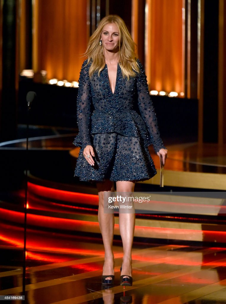 Actress <a gi-track='captionPersonalityLinkClicked' href=/galleries/search?phrase=Julia+Roberts&family=editorial&specificpeople=202605 ng-click='$event.stopPropagation()'>Julia Roberts</a> speaks onstage at the 66th Annual Primetime Emmy Awards held at Nokia Theatre L.A. Live on August 25, 2014 in Los Angeles, California.