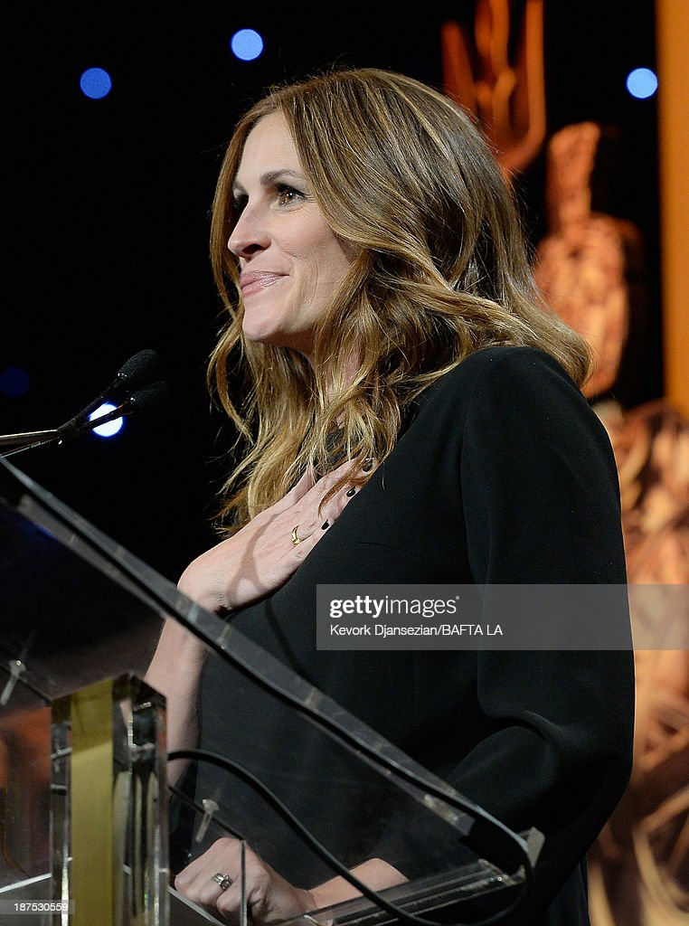 Actress <a gi-track='captionPersonalityLinkClicked' href=/galleries/search?phrase=Julia+Roberts&family=editorial&specificpeople=202605 ng-click='$event.stopPropagation()'>Julia Roberts</a> speaks onstage during the 2013 BAFTA LA Jaguar Britannia Awards presented by BBC America at The Beverly Hilton Hotel on November 9, 2013 in Beverly Hills, California.