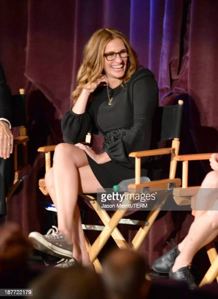Actress Julia Roberts speaks onstage during the August Osage County screening presented by The Weinstein Company at Westwood Village Theatre on...