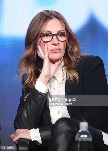 Actress Julia Roberts speaks onstage during the 'The Normal Heart' panel discussion at the HBO portion of the 2014 Winter Television Critics...