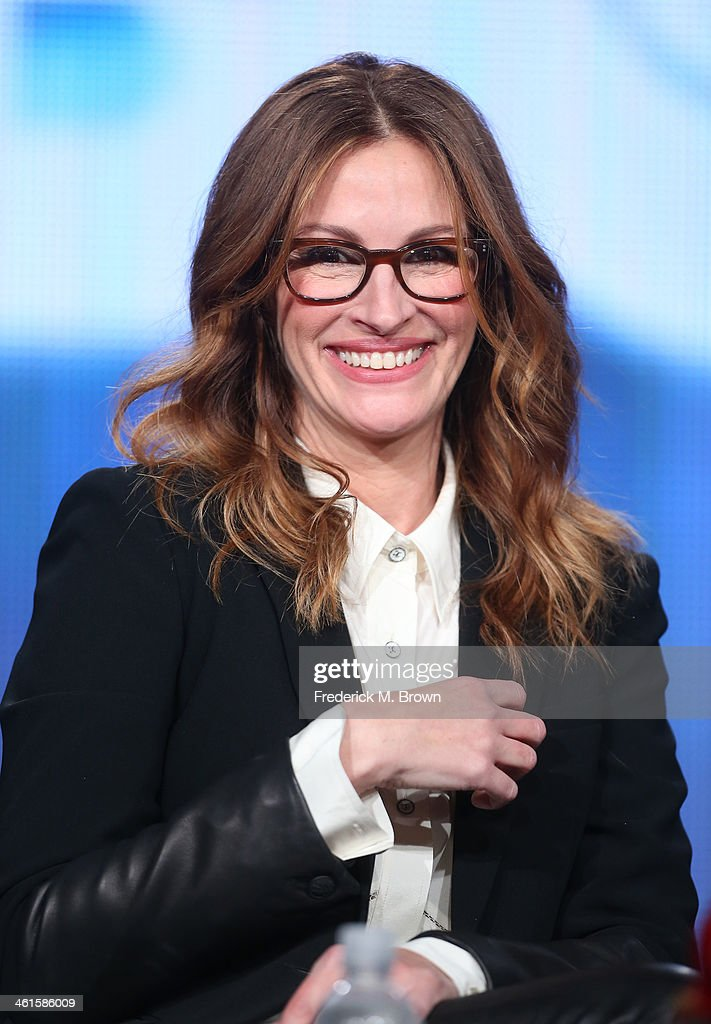 Actress <a gi-track='captionPersonalityLinkClicked' href=/galleries/search?phrase=Julia+Roberts&family=editorial&specificpeople=202605 ng-click='$event.stopPropagation()'>Julia Roberts</a> speaks onstage during the 'The Normal Heart' panel discussion at the HBO portion of the 2014 Winter Television Critics Association tour at the Langham Hotel on January 9, 2014 in Pasadena, California.