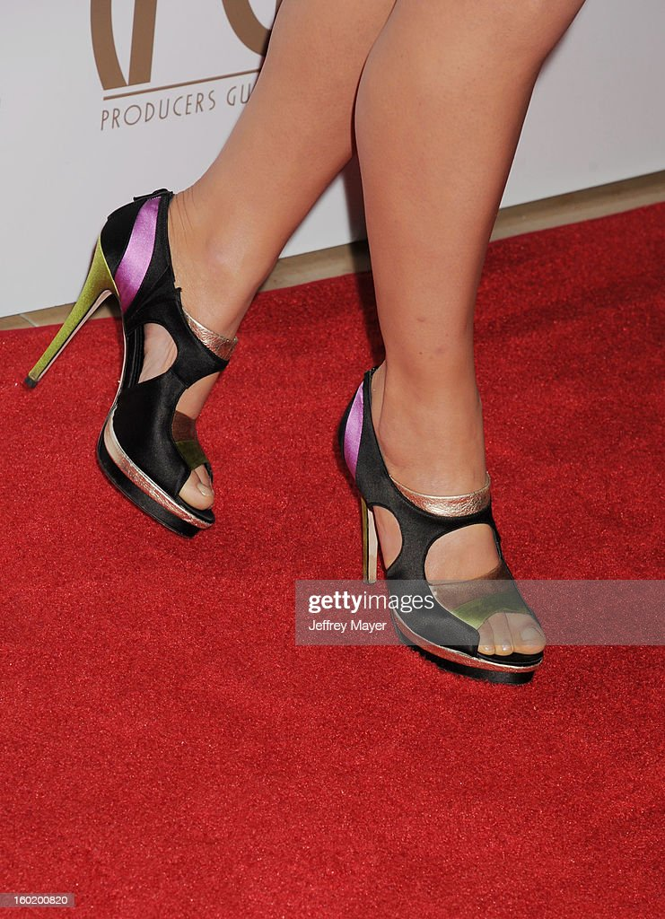 Actress Julia Stiles (shoe detail) at the 24th Annual Producers Guild Awards at The Beverly Hilton Hotel on January 26, 2013 in Beverly Hills, California.