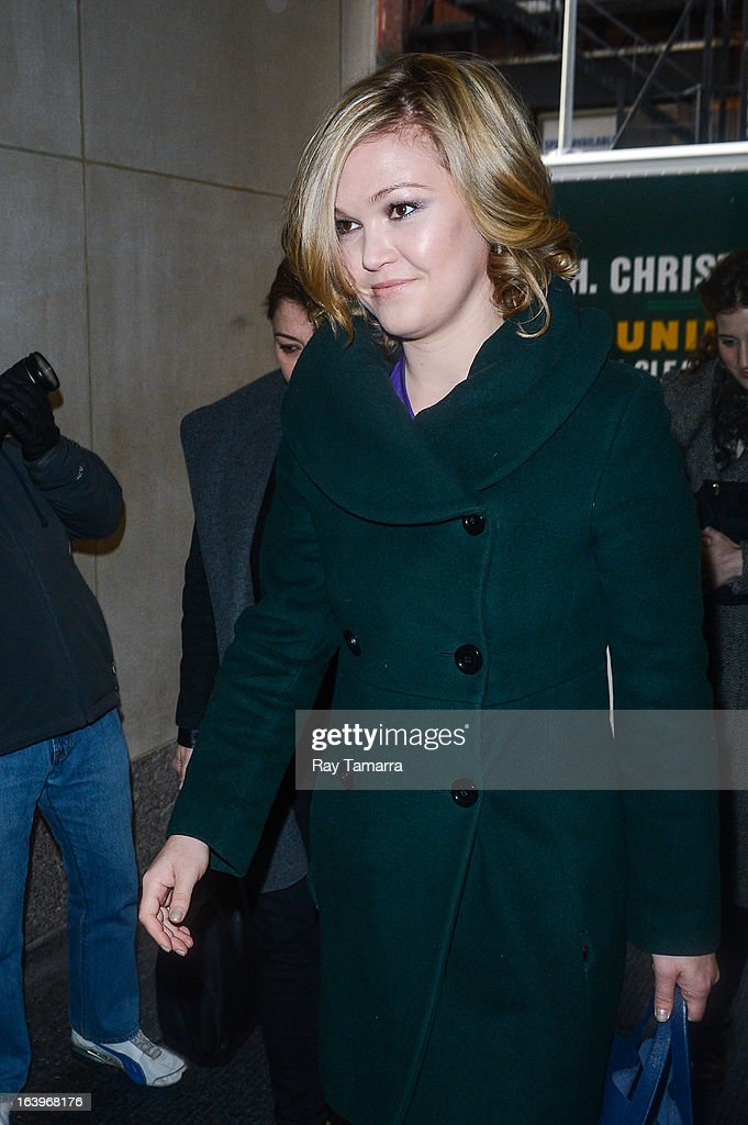 Actress Julia Stiles enters the 'Today Show' taping at the NBC Rockefeller Center Studios on March 18, 2013 in New York City.