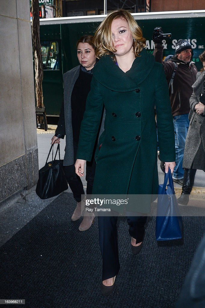 Actress <a gi-track='captionPersonalityLinkClicked' href=/galleries/search?phrase=Julia+Stiles&family=editorial&specificpeople=202217 ng-click='$event.stopPropagation()'>Julia Stiles</a> enters the 'Today Show' taping at the NBC Rockefeller Center Studios on March 18, 2013 in New York City.