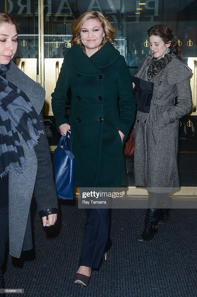 Actress Julia Stiles leaves the 'Today Show' taping at the NBC Rockefeller Center Studios on March 18, 2013 in New York City.