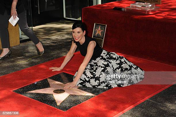 Actress Juliana Margulies posing at the ceremony that honored her with a Star on the Hollywood Walk of Fame