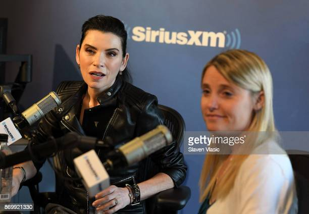 Actress Julianna Margulies and author/activist Erin Merryn visit EW at SiriusXM Studios on November 3 2017 in New York City