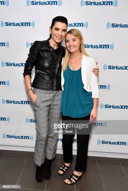 Actress Julianna Margulies and author/activist Erin Merryn visit SiriusXM Studios on November 3 2017 in New York City