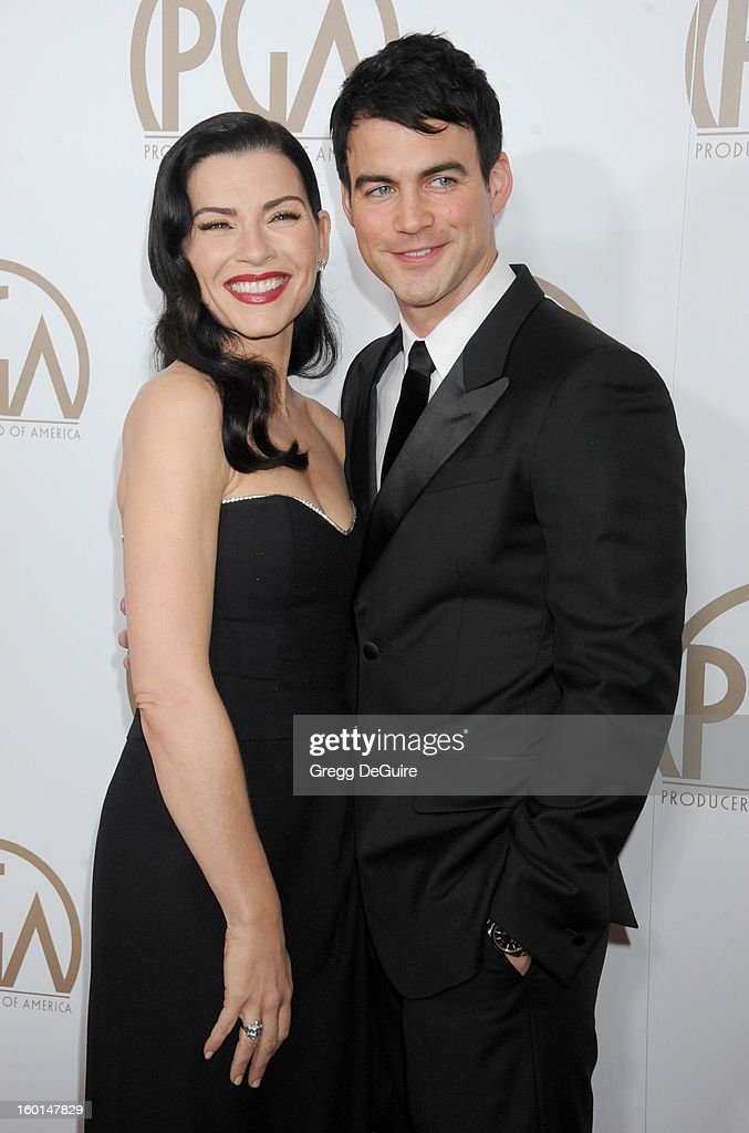 Actress Julianna Margulies and husband Keith Lieberthal arrive at the 24th Annual Producers Guild Awards at The Beverly Hilton Hotel on January 26, 2013 in Beverly Hills, California.