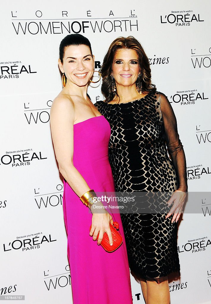 Actress <a gi-track='captionPersonalityLinkClicked' href=/galleries/search?phrase=Julianna+Margulies&family=editorial&specificpeople=208994 ng-click='$event.stopPropagation()'>Julianna Margulies</a> and (R) President of L'Oreal Paris, Karen Fondu attend the 7th annual Women of Worth Awards at Hearst Tower on December 6, 2012 in New York City.