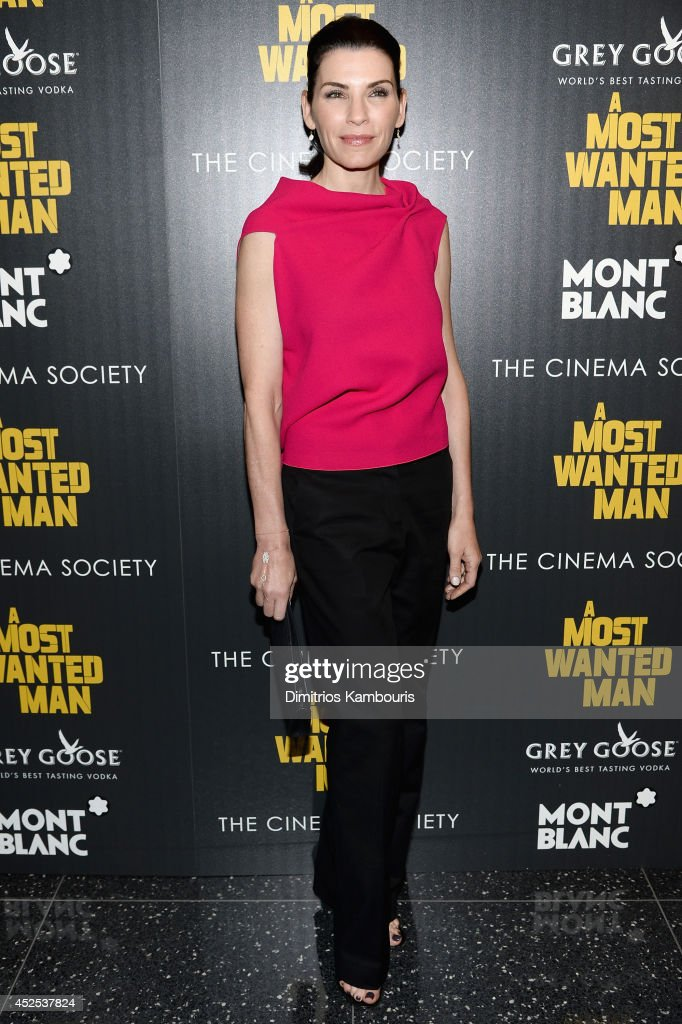 Actress <a gi-track='captionPersonalityLinkClicked' href=/galleries/search?phrase=Julianna+Margulies&family=editorial&specificpeople=208994 ng-click='$event.stopPropagation()'>Julianna Margulies</a> attends Lionsgate and Roadside Attraction's premiere of 'A Most Wanted Man' hosted by The Cinema Society and Montblanc at the Museum of Modern Art on July 22, 2014 in New York City.
