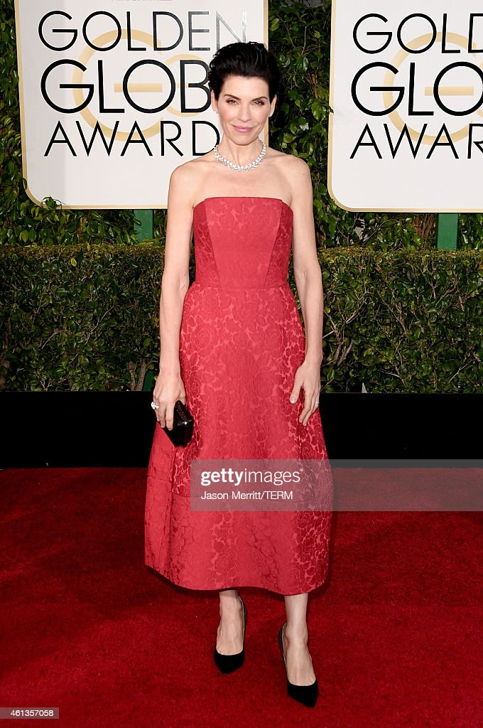 Actress <a gi-track='captionPersonalityLinkClicked' href=/galleries/search?phrase=Julianna+Margulies&family=editorial&specificpeople=208994 ng-click='$event.stopPropagation()'>Julianna Margulies</a> attends the 72nd Annual Golden Globe Awards at The Beverly Hilton Hotel on January 11, 2015 in Beverly Hills, California.