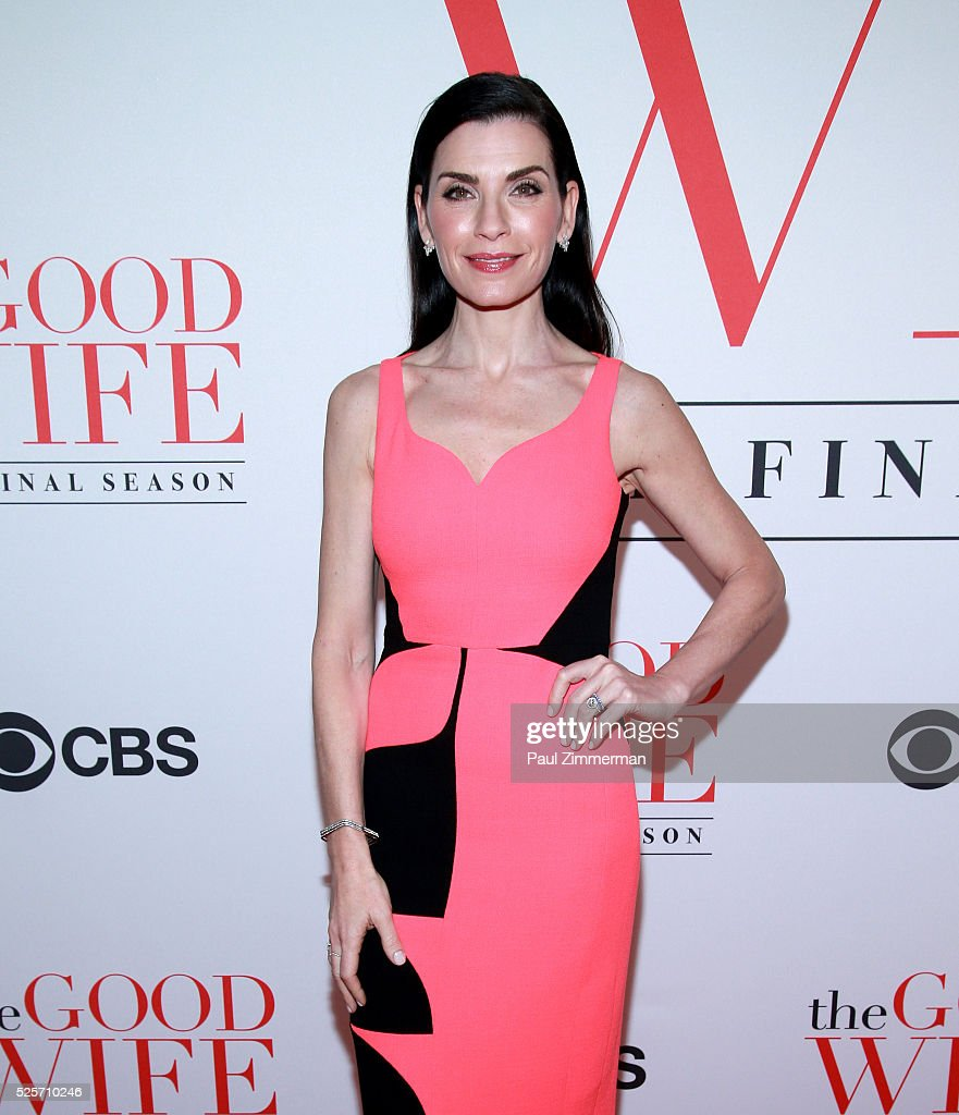 Actress <a gi-track='captionPersonalityLinkClicked' href=/galleries/search?phrase=Julianna+Margulies&family=editorial&specificpeople=208994 ng-click='$event.stopPropagation()'>Julianna Margulies</a> attends 'The Good Wife' Finale Party at Museum of Modern Art on April 28, 2016 in New York City.