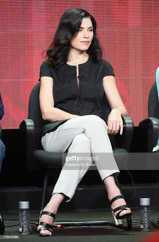 Actress <a gi-track='captionPersonalityLinkClicked' href=/galleries/search?phrase=Julianna+Margulies&family=editorial&specificpeople=208994 ng-click='$event.stopPropagation()'>Julianna Margulies</a> speaks onstage during 'The Good Wife' panel discussion at the CBS, Showtime and The CW portion of the 2013 Summer Television Critics Association tour at the Beverly Hilton Hotel on July 29, 2013 in Beverly Hills, California.