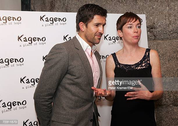 Actress Julianna Nicholson and her husband pose for a photo the Kagenoorg benefit at Guastavino's October 30 2006 in New York City