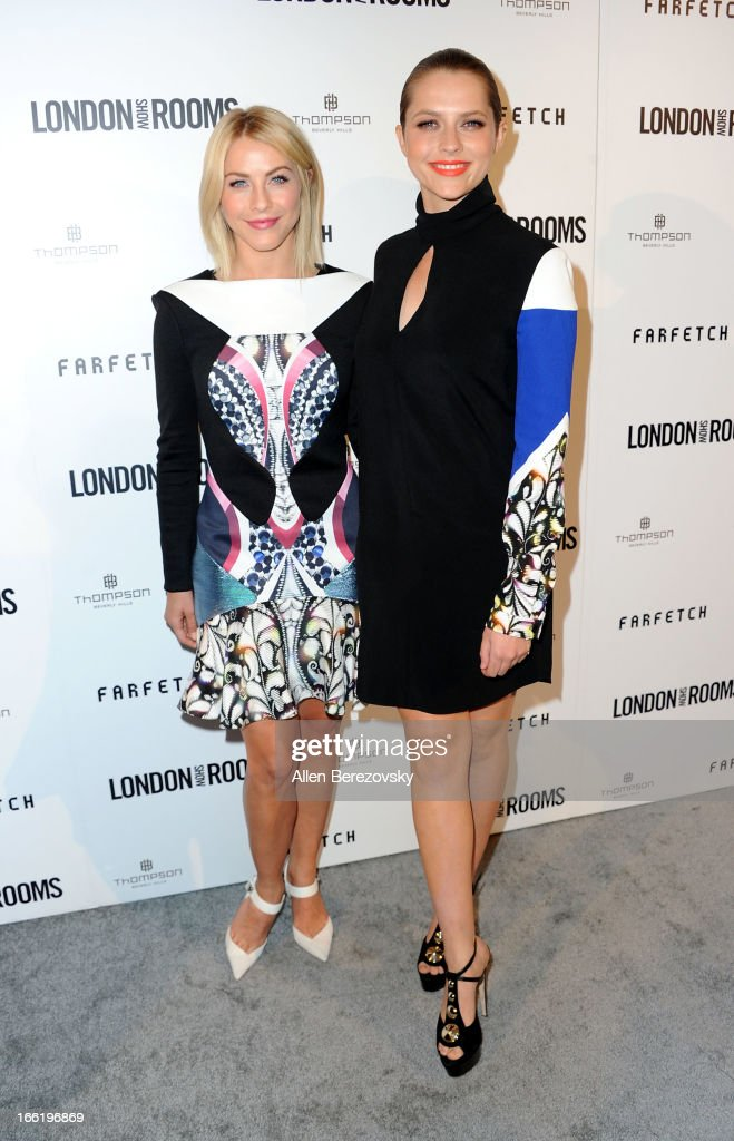 Actress Julianne Hough (L) and actress Teresa Palmer attend the British Fashion Council's International Showcasing Initiative 'London Show Rooms LA' at Thompson Hotel on April 9, 2013 in Beverly Hills, California.