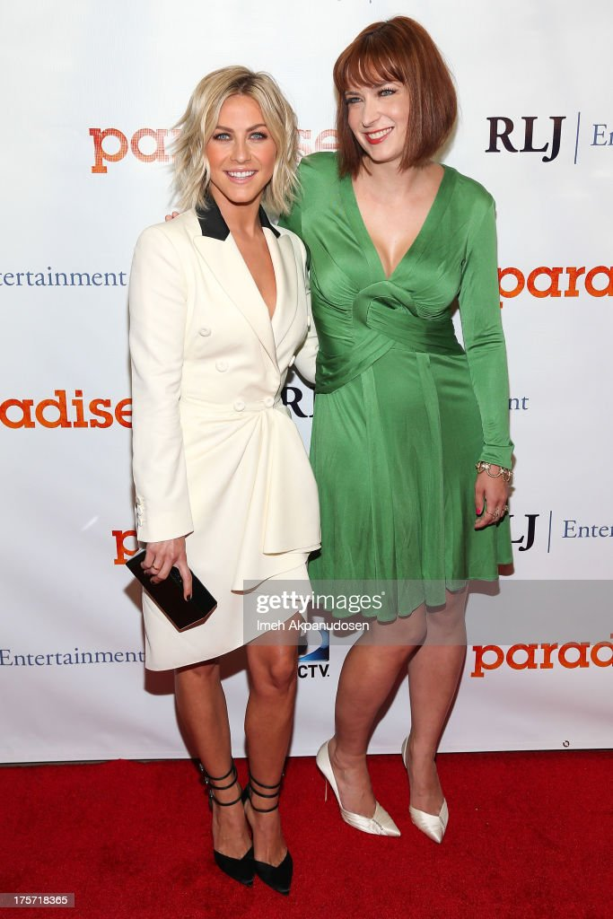 Actress <a gi-track='captionPersonalityLinkClicked' href=/galleries/search?phrase=Julianne+Hough&family=editorial&specificpeople=4237560 ng-click='$event.stopPropagation()'>Julianne Hough</a> (L) and director Diablo Cody attend the premiere of DirecTV's 'Paradise' at Mann Chinese 6 on August 6, 2013 in Los Angeles, California.