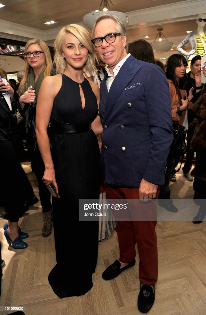 Actress Julianne Hough and fashion designer Tommy Hilfiger attend Tommy Hilfiger New West Coast Flagship Opening on Robertson Boulevard on February 13, 2013 in West Hollywood, California.